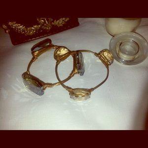 Vintage clear and crystal blue bracelets